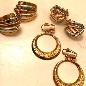 Three Pairs Vintage Gold Tone Clip Earrings